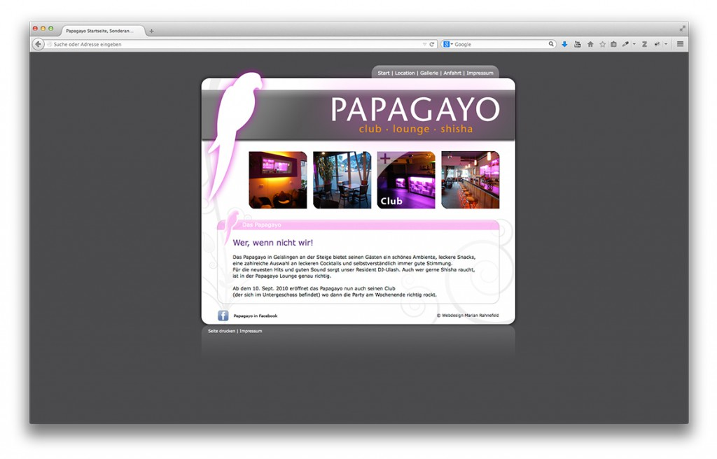 Startseite Papagayo / Mamagayo Club Lounge Shisha Bar Website