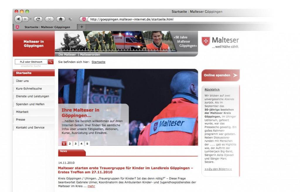 Startseite der Website des Malteser Hilfsdienstes in Göppingen CMS-System