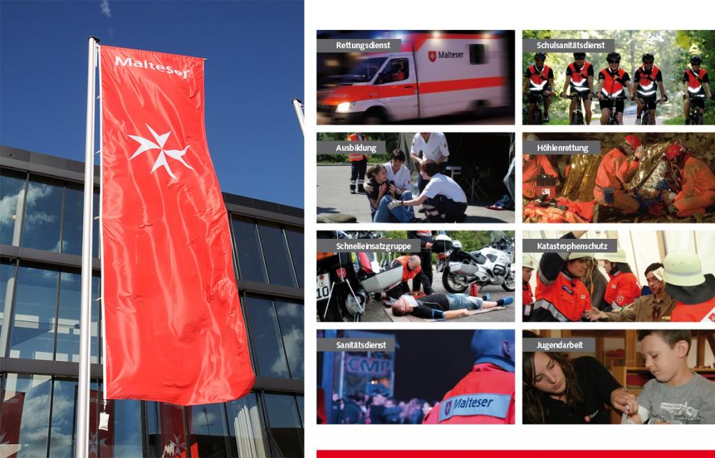Fahne und Einsatzbereiche Malteser Hilfsdienst