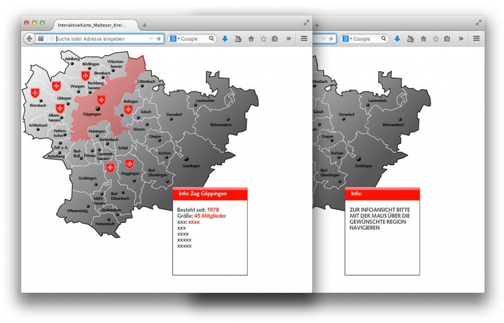 interaktive Karte im Web Malteser Hilfsdienst Baden Würrtemberg