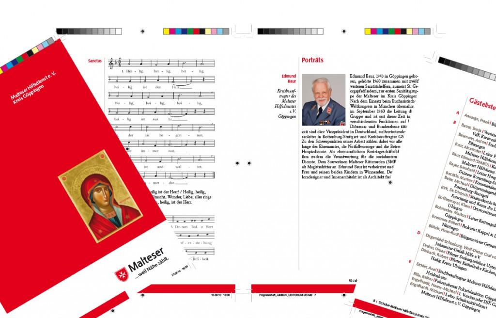 Printdesign Liedheft und Programmheft Malteser Hilfsdienst Göppingen