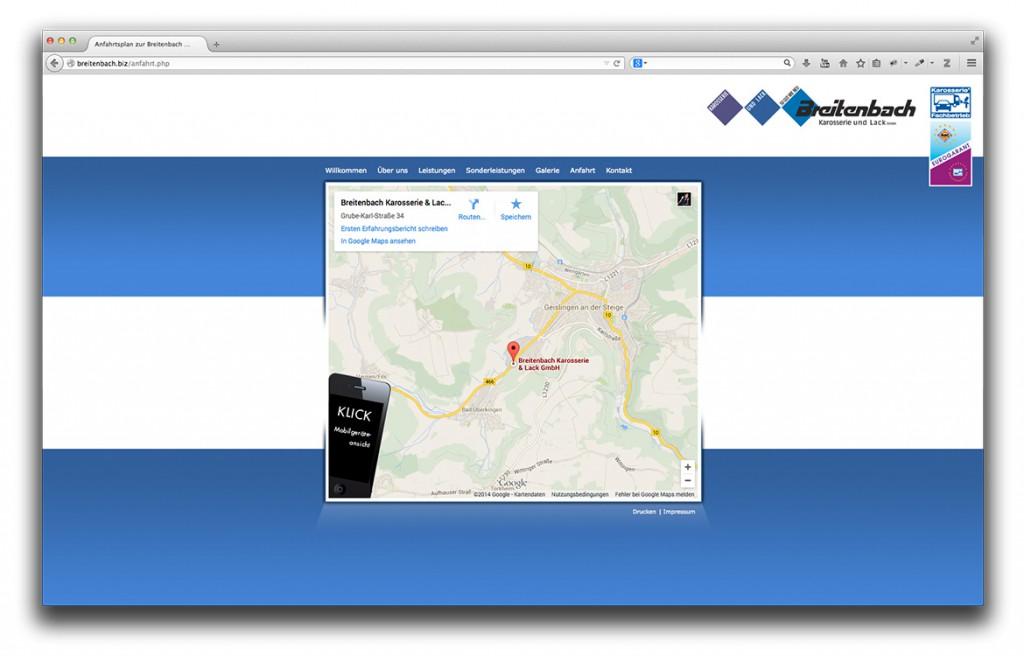 Anfahrt auf der Website von Breitenbach Karosserie und Lack in Geislingen