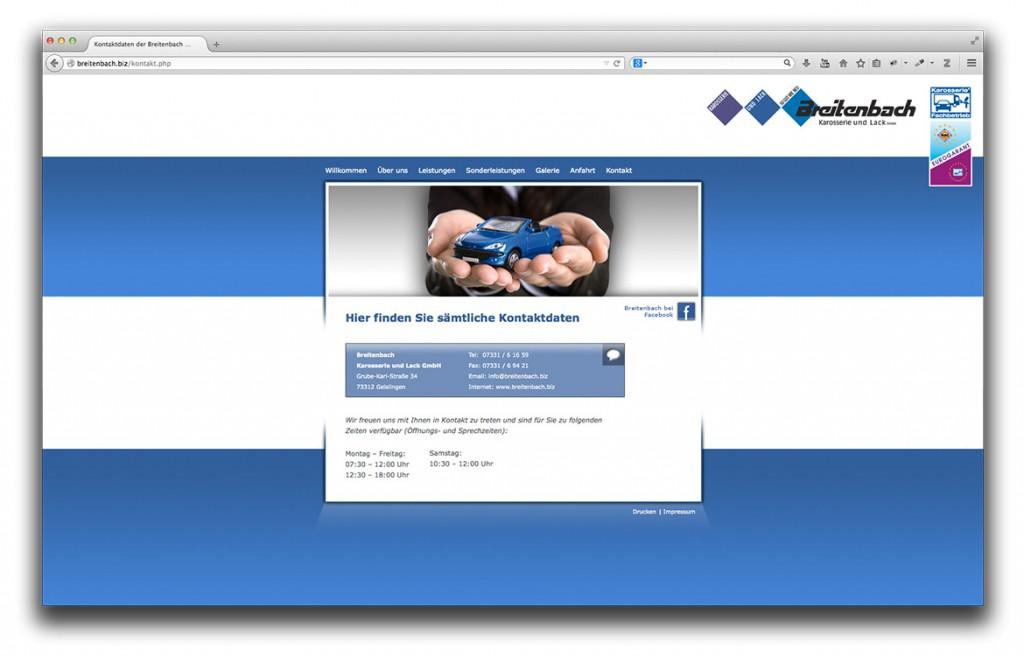 Kontaktseite der Website von Breitenbach Karosserie und Lack in Geislingen