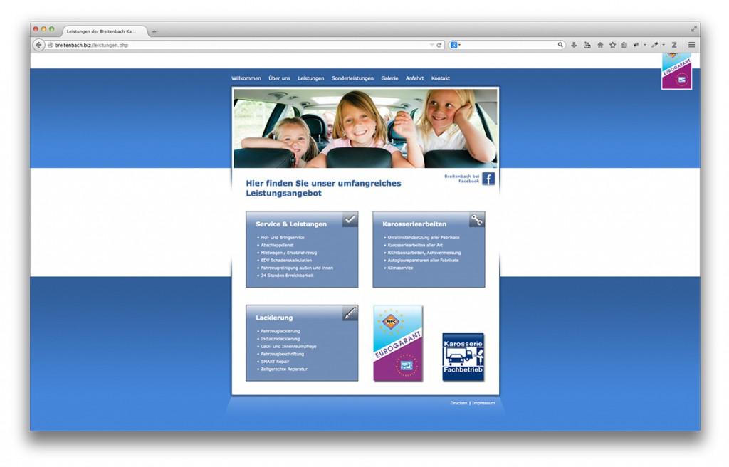 Serviceseite der Website von Breitenbach Karosserie und Lack in Geislingen