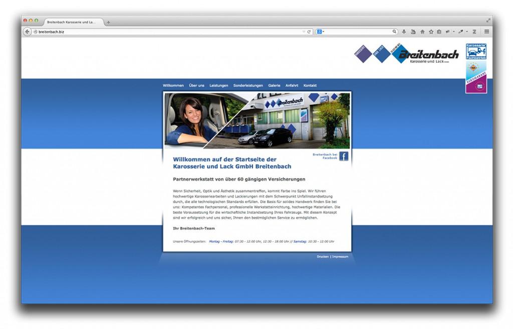 Startseite der Website von Breitenbach Karosserie und Lack in Geislingen