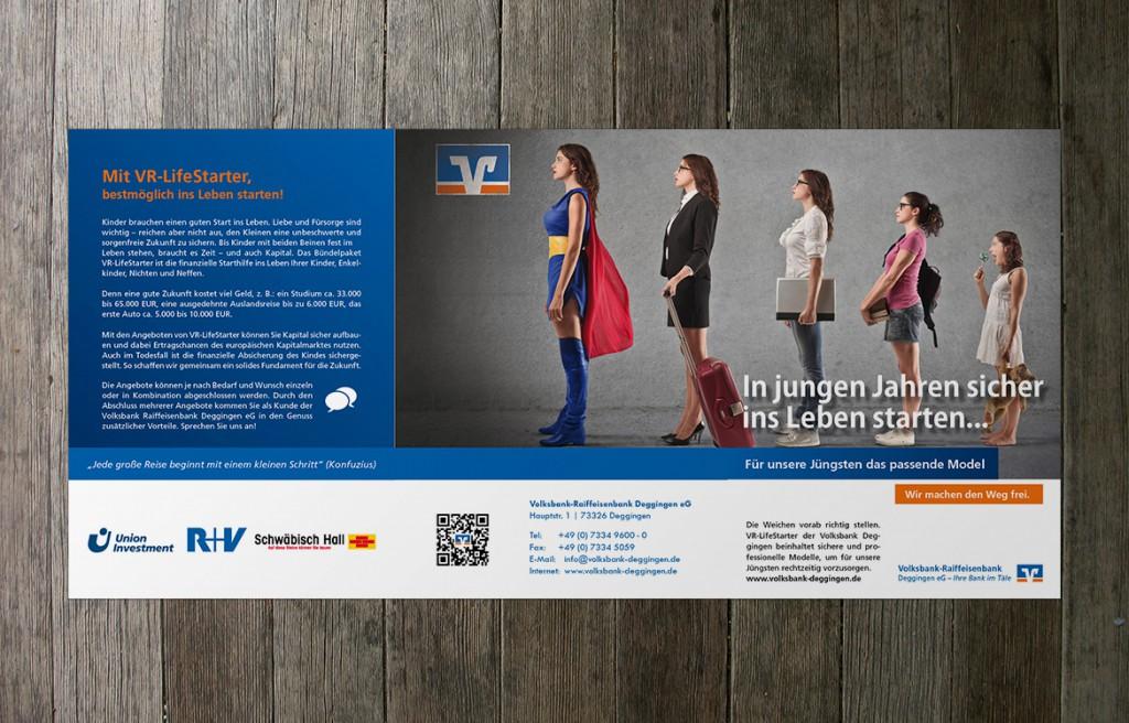 VR-LifeStarter Infobroschüre Wickelfalz Volksbank Deggingen