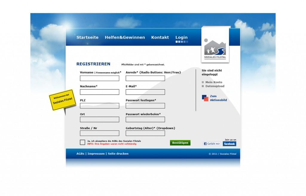 Registrierung auf der Website vom Sozialen Filstal