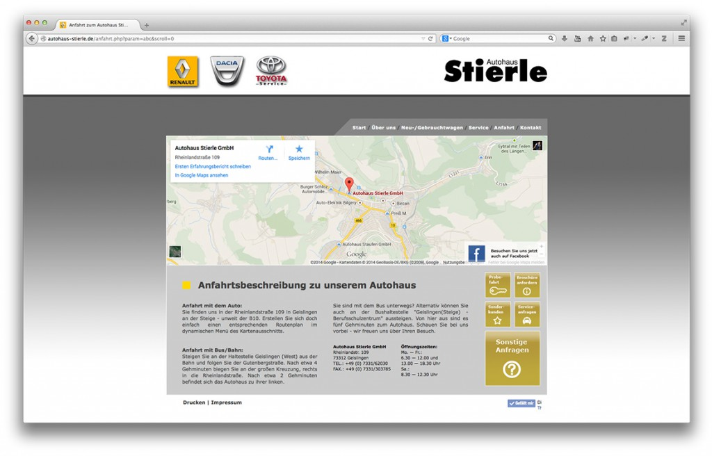 Anfahrt auf der Website von Autohaus Stierle in Geislingen