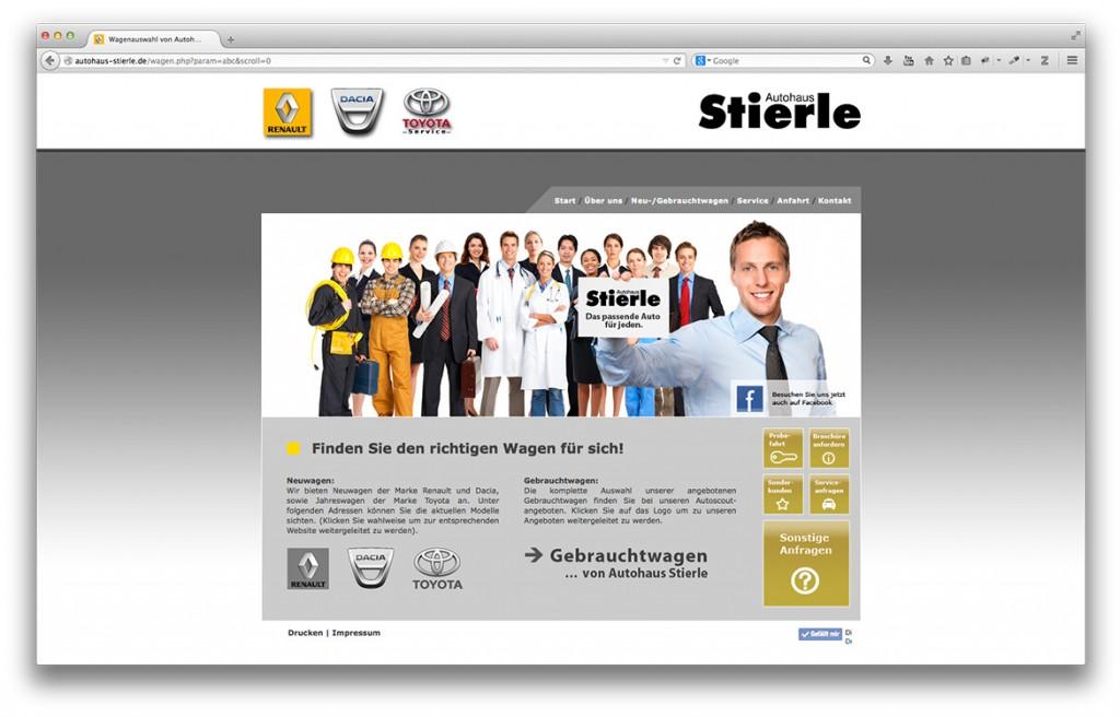 Neu- und Gebrauchtwagenseite der Website von Autohaus Stierle in Geislingen