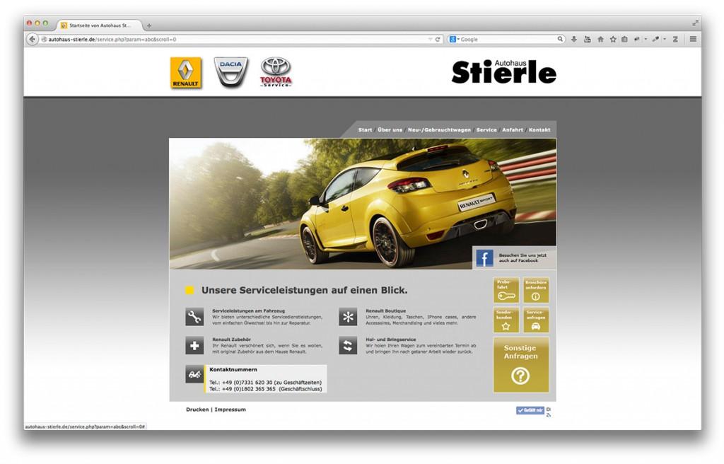 Serviceseite der Website von Autohaus Stierle in Geislingen