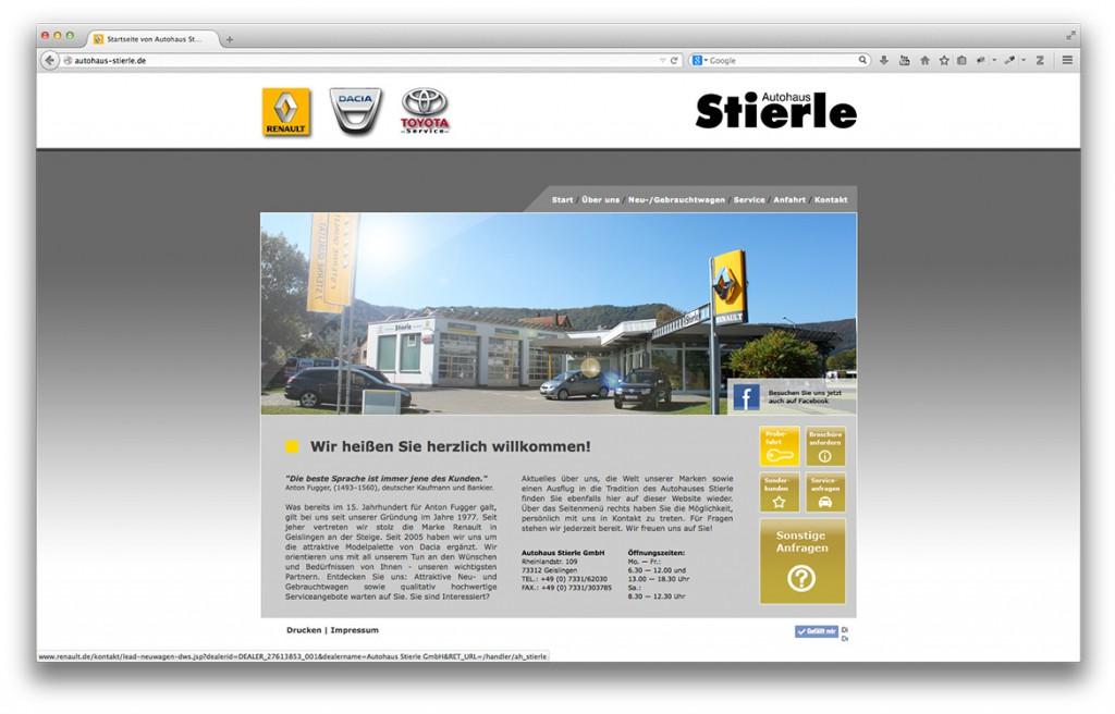 Startseite der Website von Autohaus Stierle in Geislingen