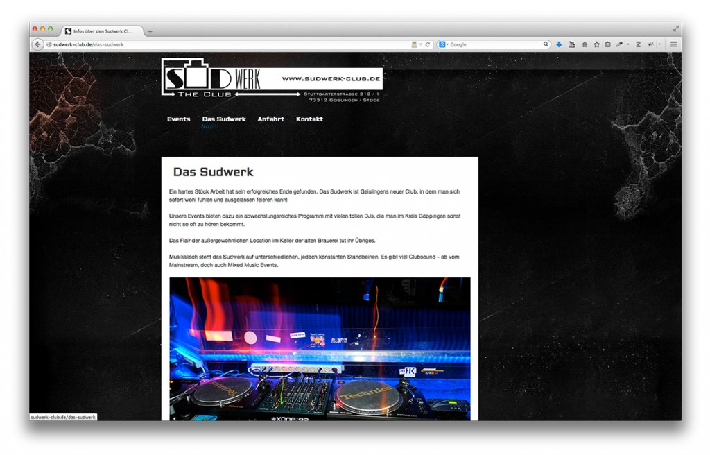Infoseite der Website vom Club Sudwerk in Geislingen