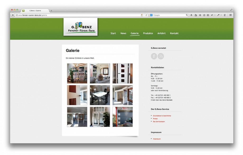 Gerald Benz Fachbetrieb für Fenster Türen und Tore in Geislingen Website inHouse Ausstellung