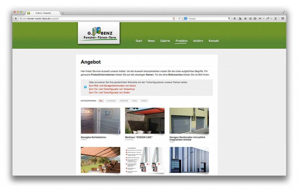 Gerald Benz Fachbetrieb für Fenster Türen und Tore in Geislingen Website Produktgalerie
