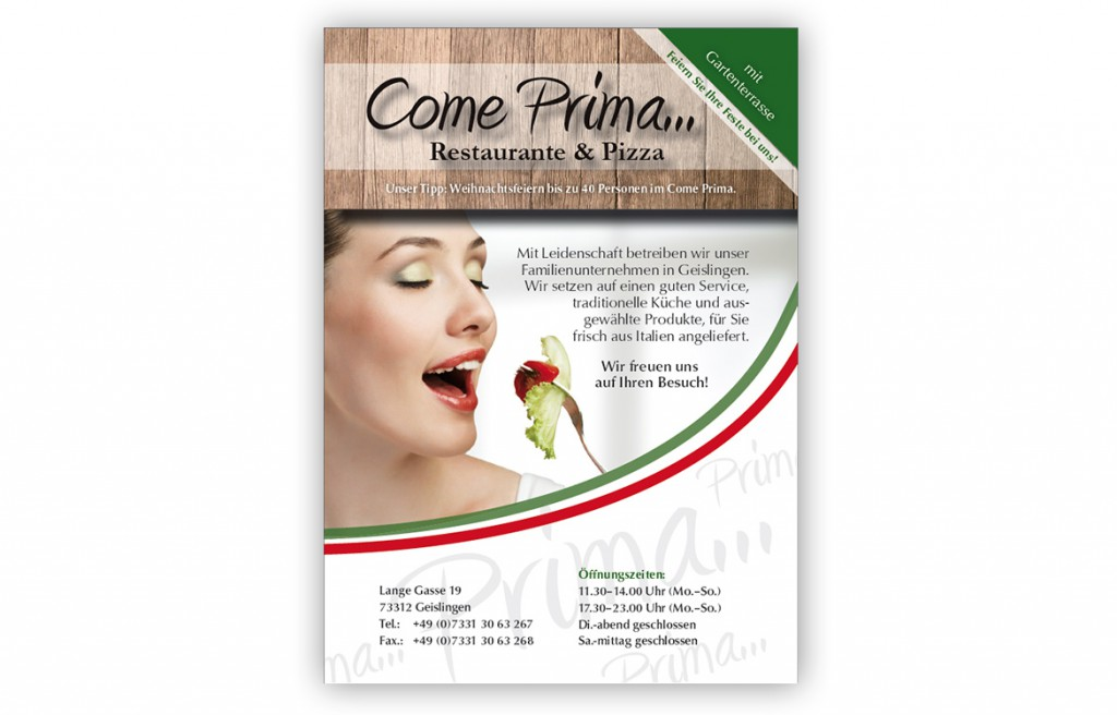 Come Prima Anzeige Pizzeria Geislingen