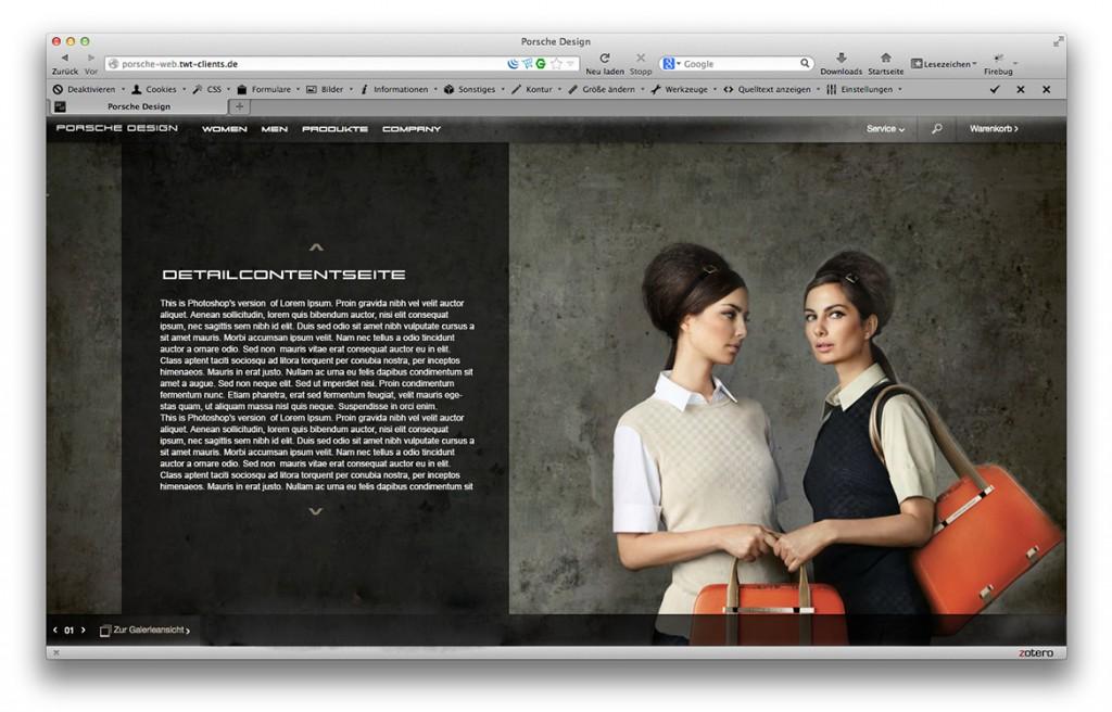 Porsche Design Website Layout Detailcontentseite