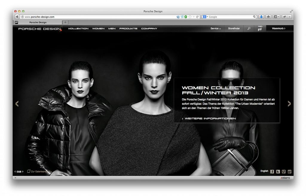 Porsche Design Website Layout Startseite