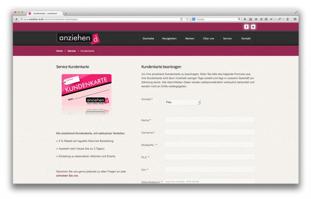 Modegeschäft anziehend Geislingen Bereich Kundenkarte auf der Website