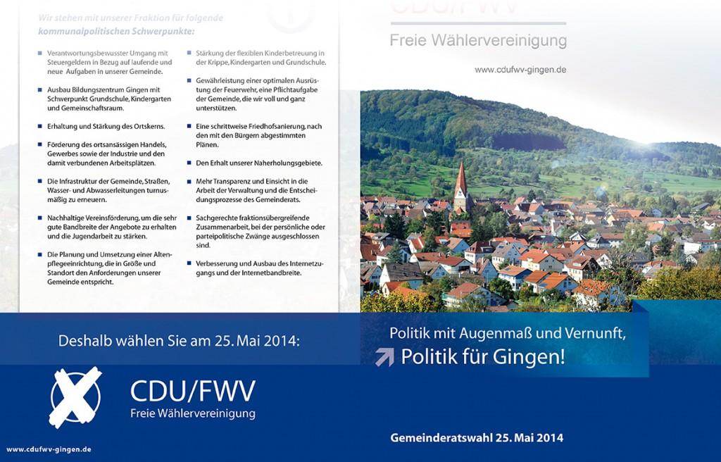 CDU/FWV Freie Wählervereinigung Gingen Abbildung Infobroschüre zur Wahl