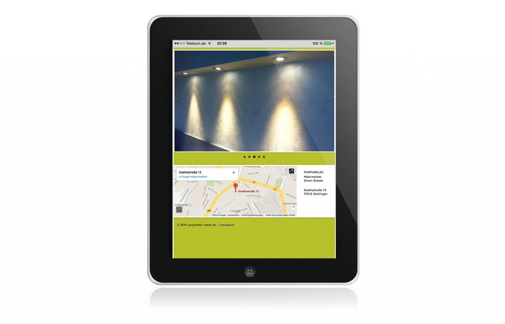 Purpurblau Maler Abbildung Startseite mobile Website iPad