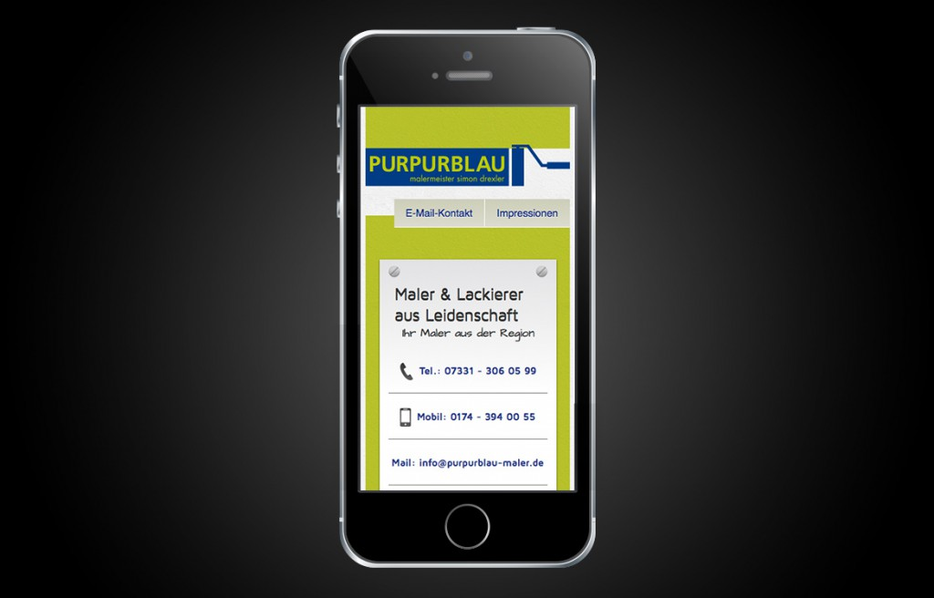 Purpurblau Maler Abbildung Startseite mobile Website iPhone